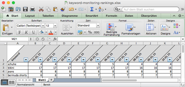 Keyword Monitoring Excel