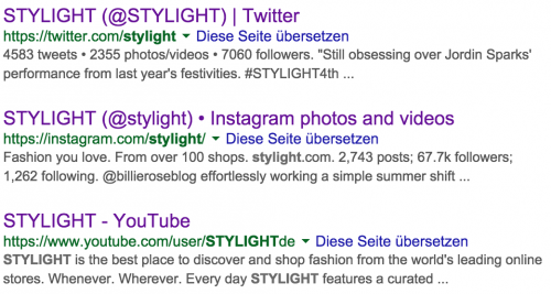 Social Media Profile in den SERPS