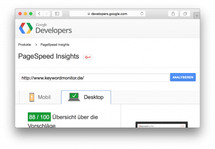 PageSpeed Insights von keywordmonitor.de