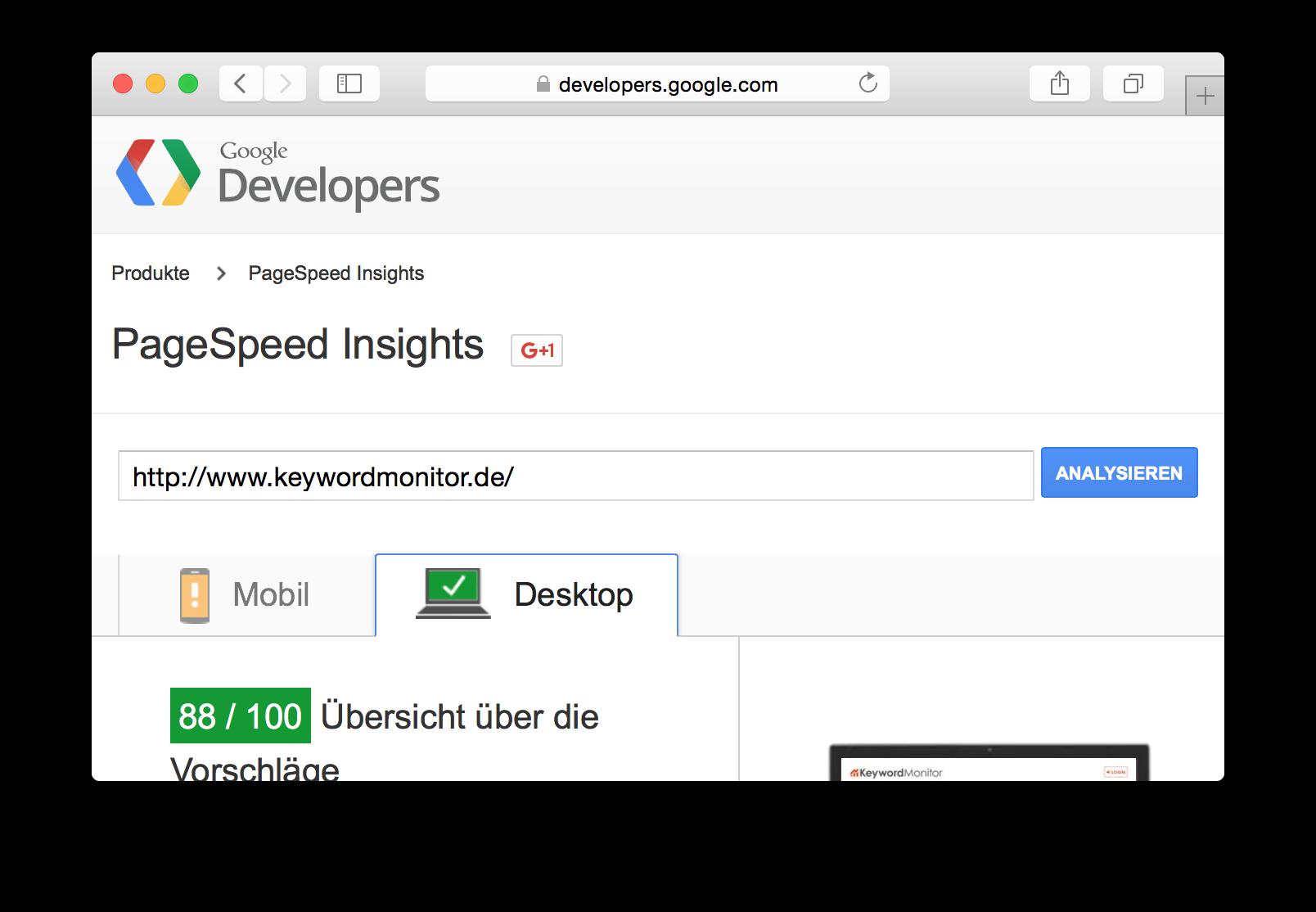 PageSpeed Insights von keywordmonitor.de
