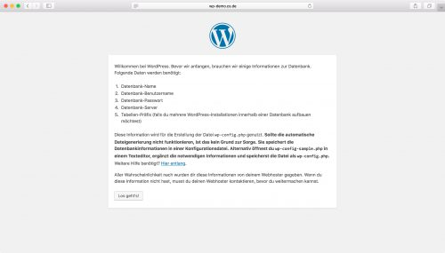 WordPress Installation - Schritt 1