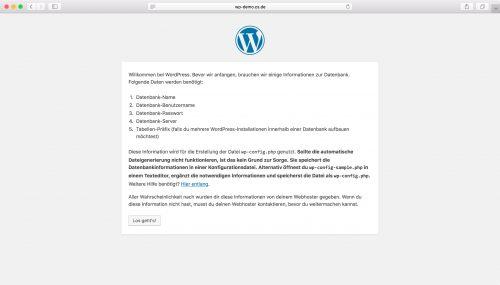 WordPress Installation - Schritt 1