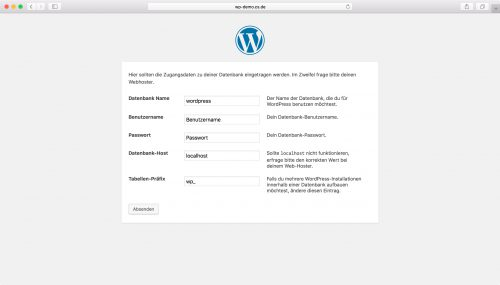 WordPress Installation - Schritt 2
