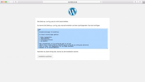 WordPress Installation - Schritt 3.2