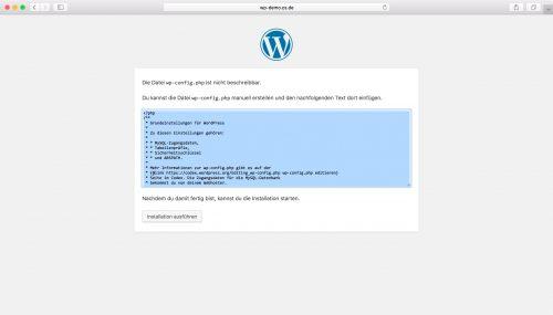 WordPress Installation - Schritt 3.2