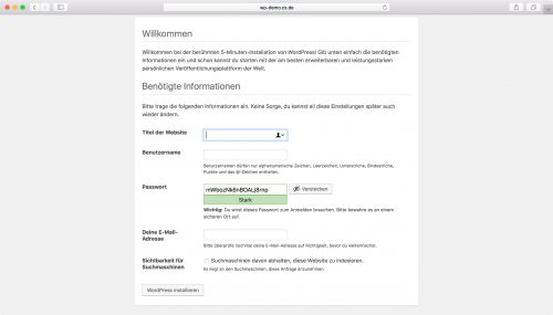 WordPress Installation - Schritt 4