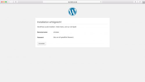 WordPress Installation - Schritt 5