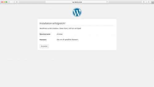 WordPress Installation - Schritt 5